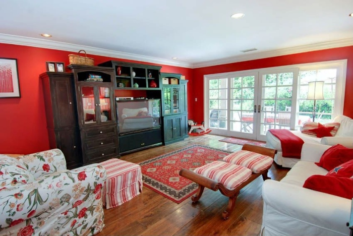 small red living room