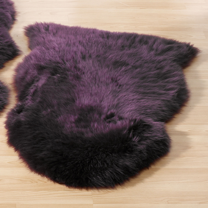 plum sheepskin rug
