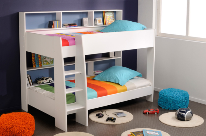 White And Blue Boys Bedroom Bunk Bed.9