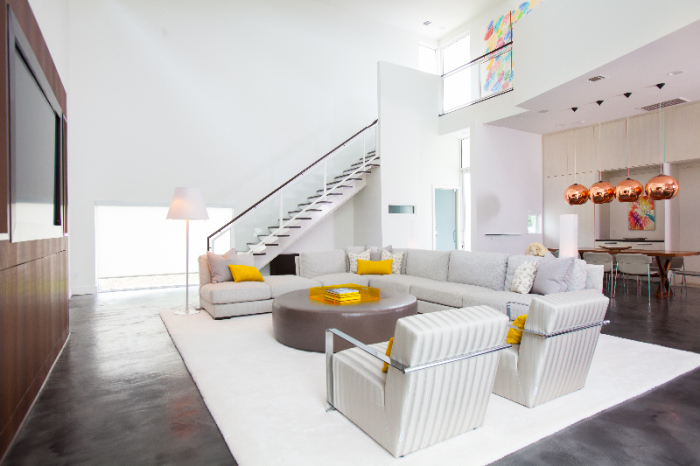 White and Grey Mansion Living Room idea