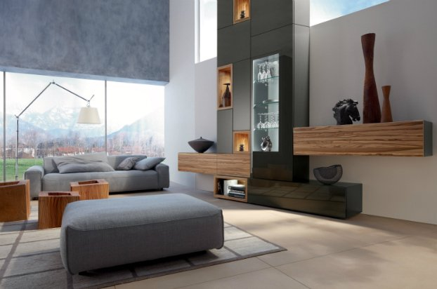 gray living room with wooden finish