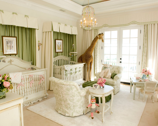 green and white baby nursery design