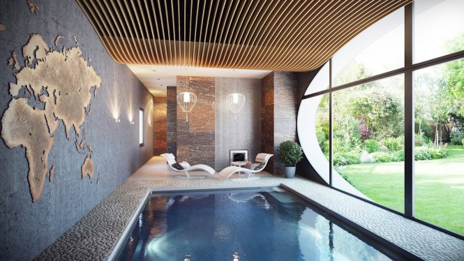 indoor swimming pool with brown walls