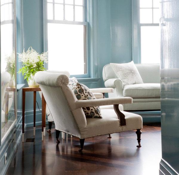 light blue minimalist living room