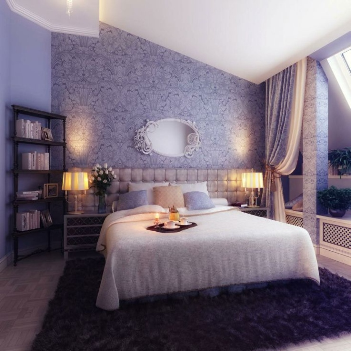 Wall murl in purple and white bedroom