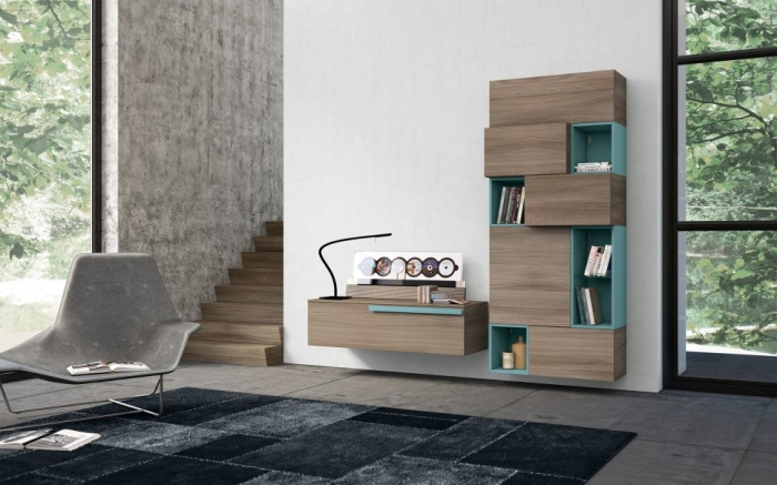 Teal and dark wood wall unit storage
