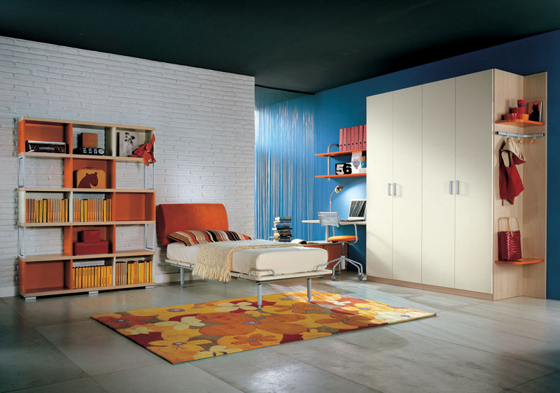 10 colorful teenage bedroom ideas for White and orange bedroom designs