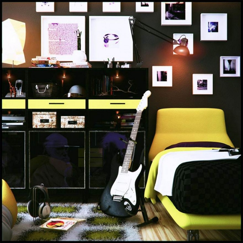Cool Yellow Glossy Bedroom