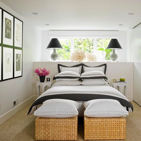 small white and black bedroom