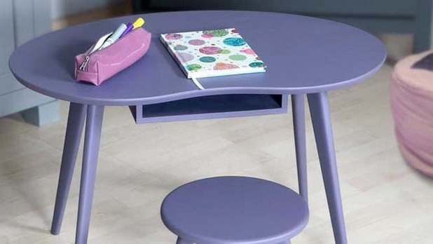 Purple Desk with Storage Under the Table