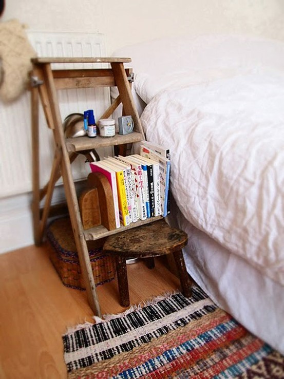 Wooden Ladder Nightstand Ideas
