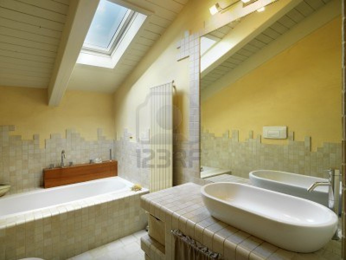 Attic with Modern Bathroom and Bathtub