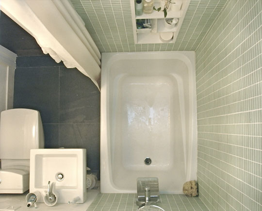 Whitish Bathroom with Built in Wall Cabinet