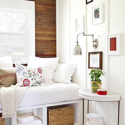 Refreshing White Motif Bedroom with Creative Design Boxes