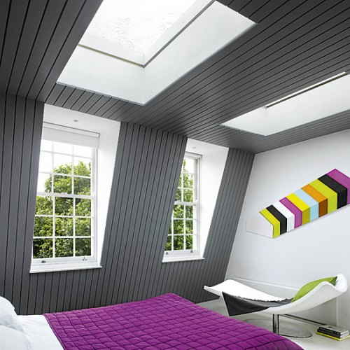 Comtemporary Colored Attic Bedroom