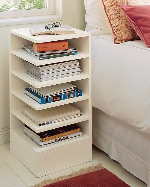 Eye catching and useful bedside tables for Bedside table shelf