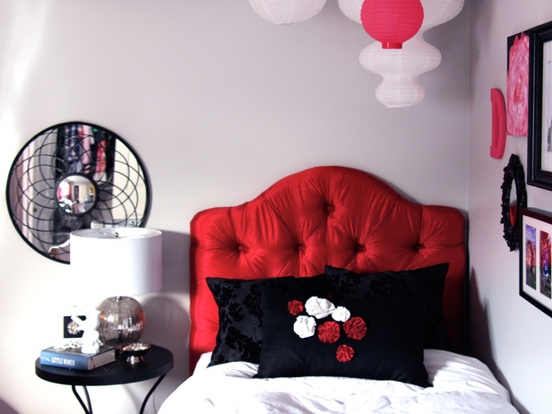 Bright Red Headboard Bedroom