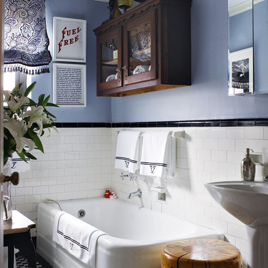 Blue Colored Walls with Masculine Aura Bathroom