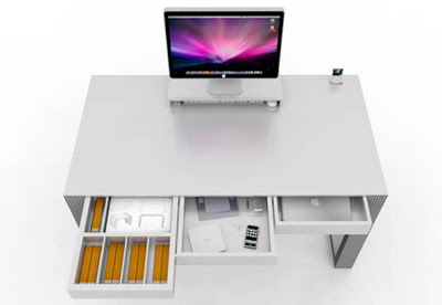 Minimalist Computer Desk with Drawer and Panels Compartment