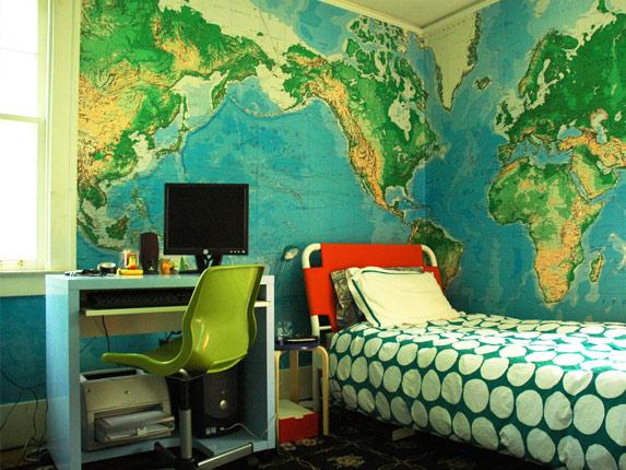World Map Inspired Bedroom