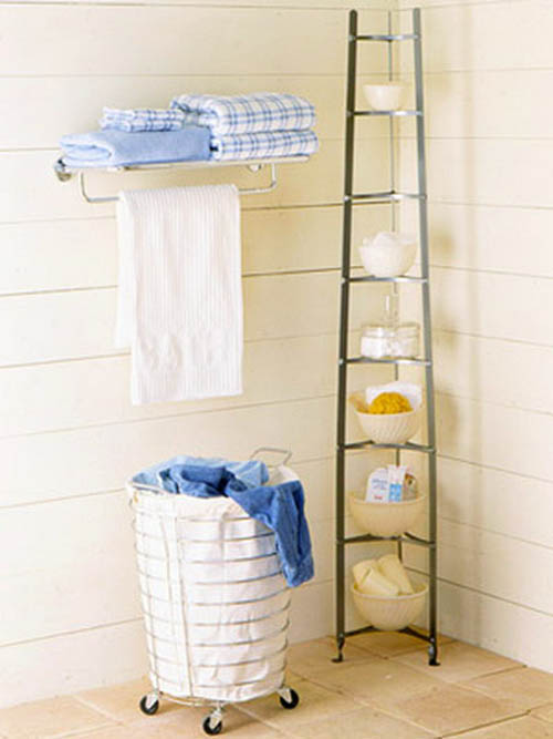 Laundry Basket and Towel Rack