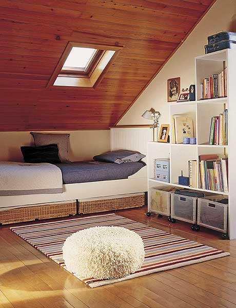 Small Attic Bedroom with Mini Library