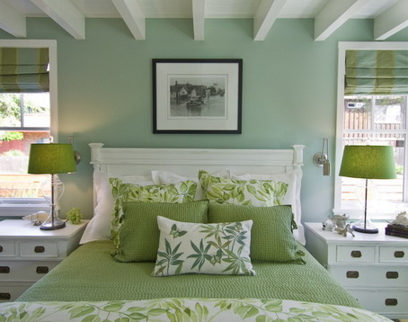 Soft Green Wall Color Themes and Simple Modern Furniture Bedroom Design