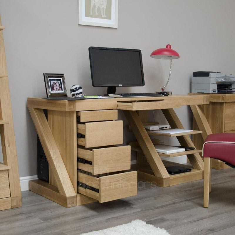 Large Computer Desk Solid Oak Modern