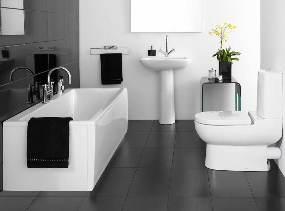 Simply White and Modern Bathroom Furniture with Black Floor Tile