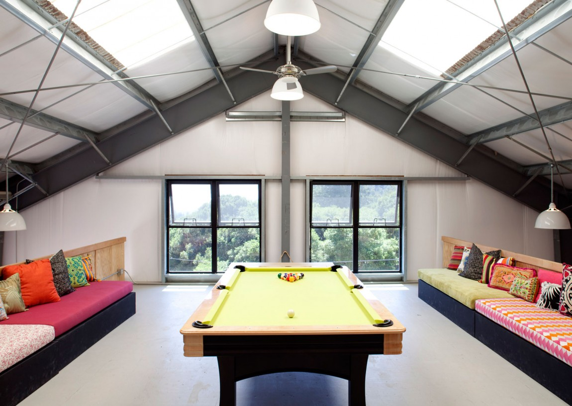 Awesome Attic Home Interior Design with Billiards