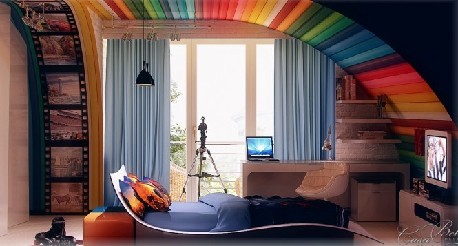 Rainbow Colored and Film Strip Bedroom