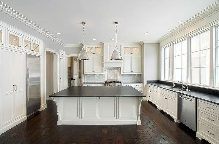 Slate Kitchen Floors With White Cabinets