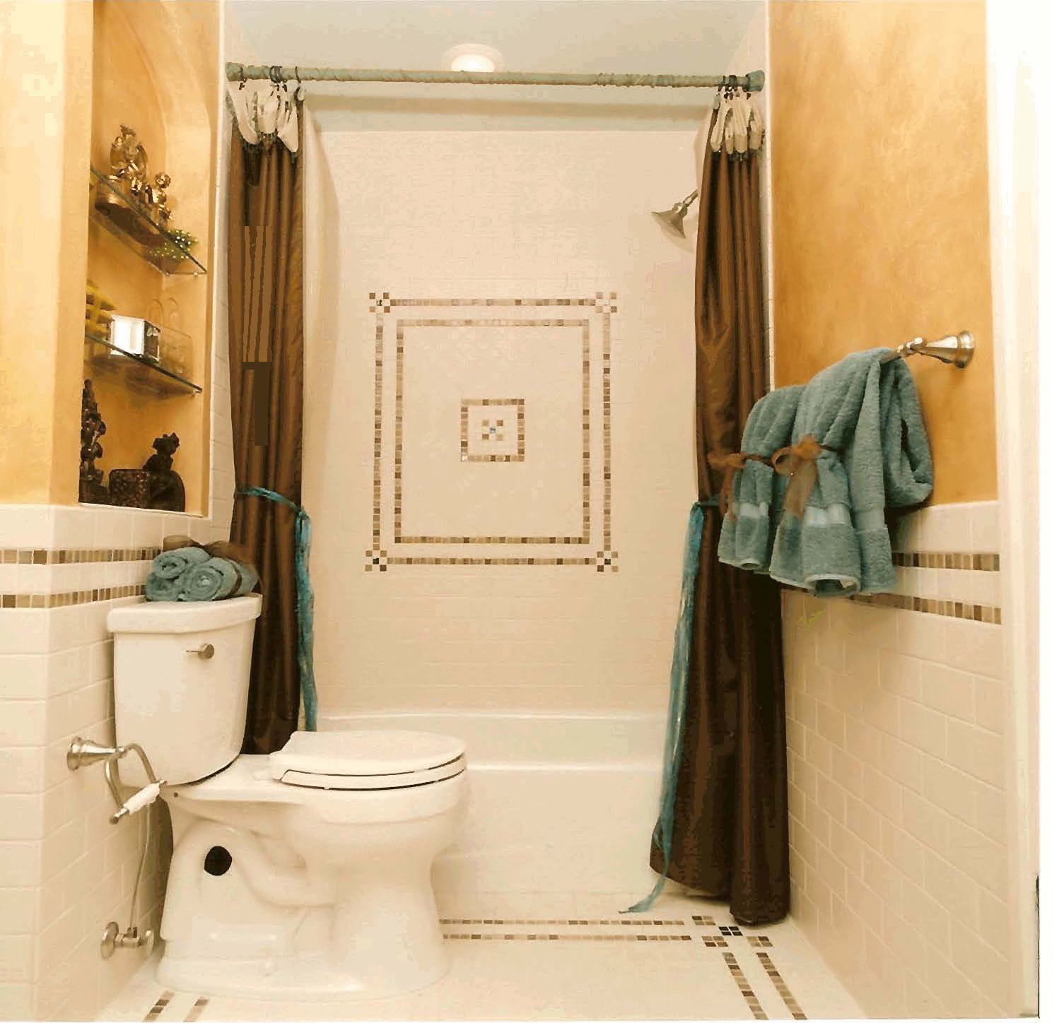 Astonishing Bathroom with Brown Shower Curtain