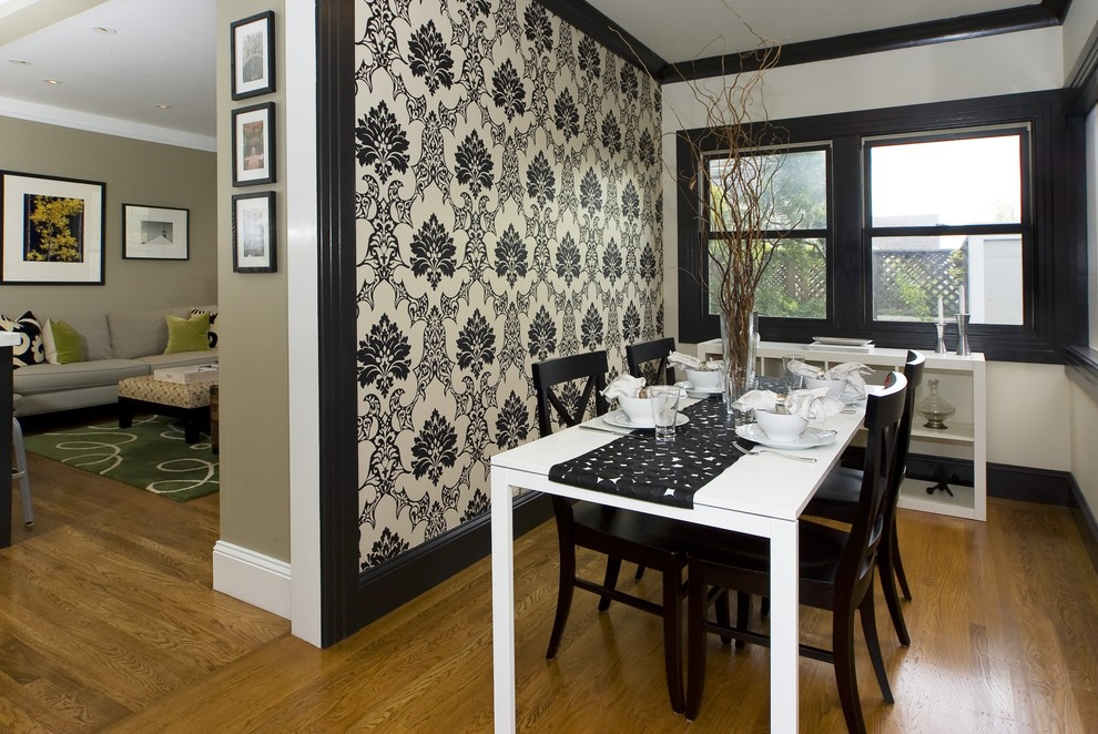 10 dining room designs with damask wallpaper patterns - Black walls in dining room ...