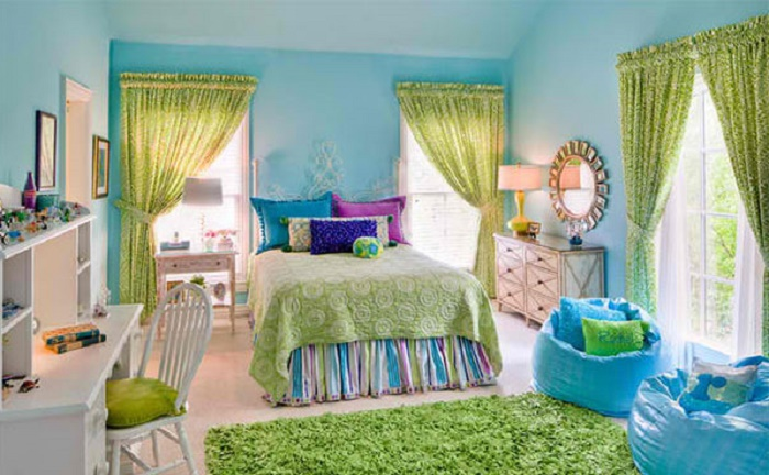 blue and lime green girl s bedroom