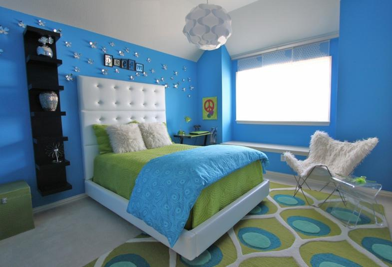 Lime green and blue modern bedroom decorating ideas for Blue and green girls bedroom ideas