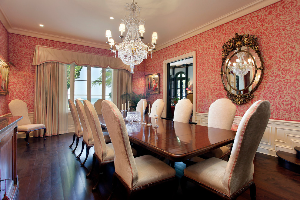 10 Dining Room Designs with Damask WallPaper Patterns ...