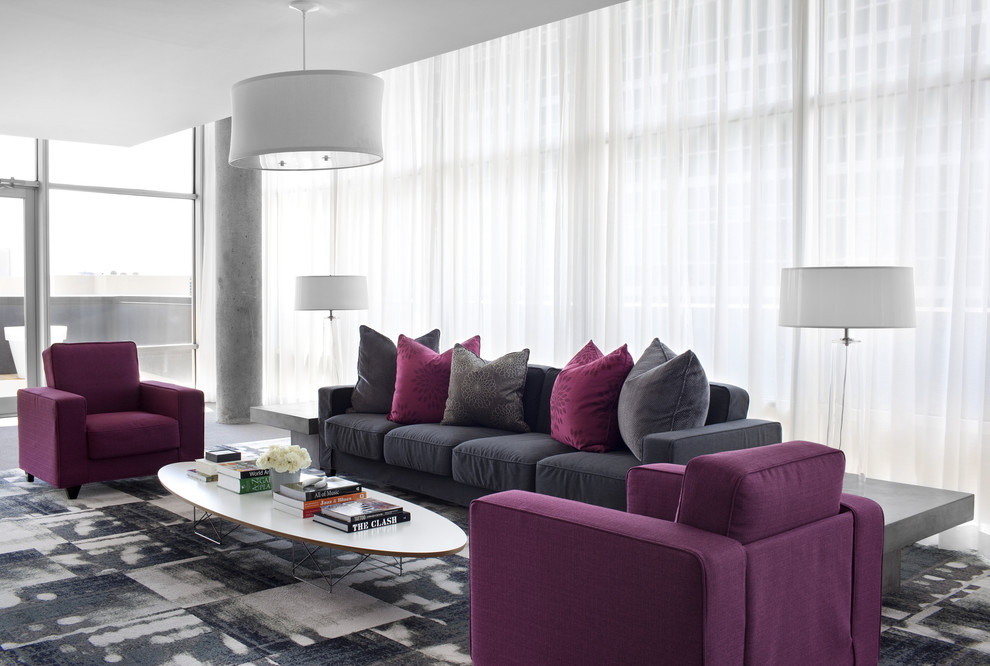 10 purple modern living room decorating ideas interior for Gray living room black furniture