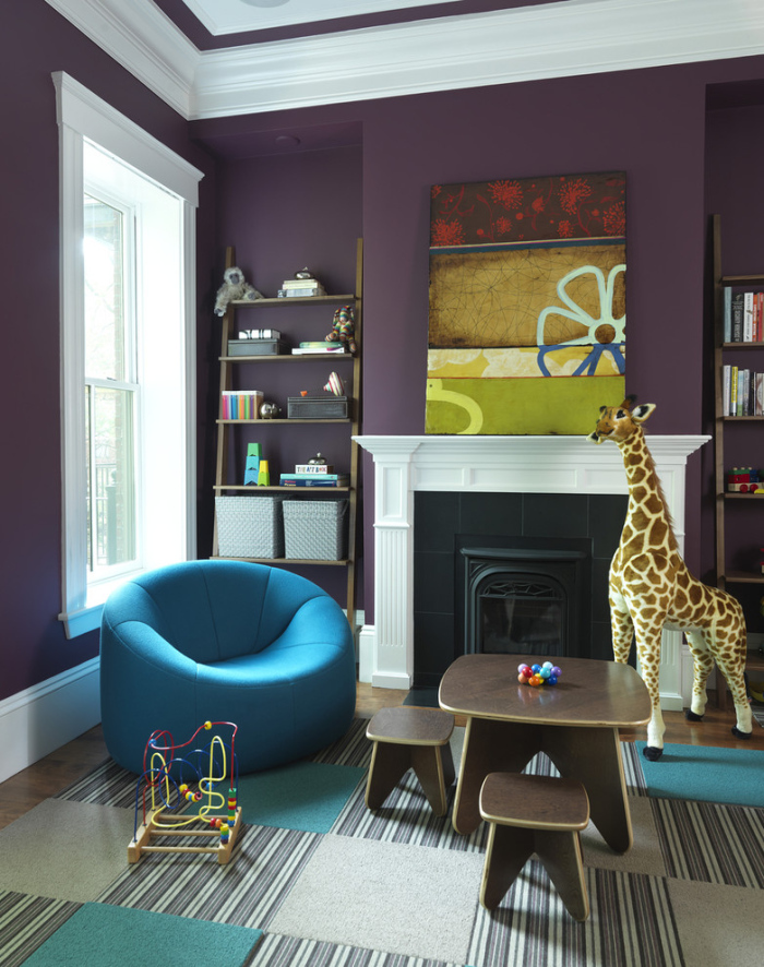 Purple walls on Kids Living room Area
