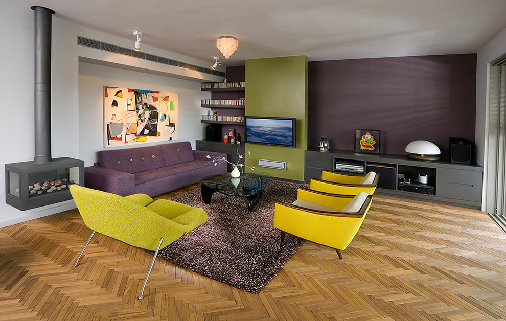 10 purple modern living room decorating ideas interior for Yellow modern living room ideas