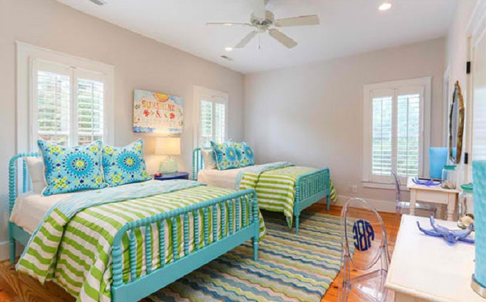 lime green and blue bedroom