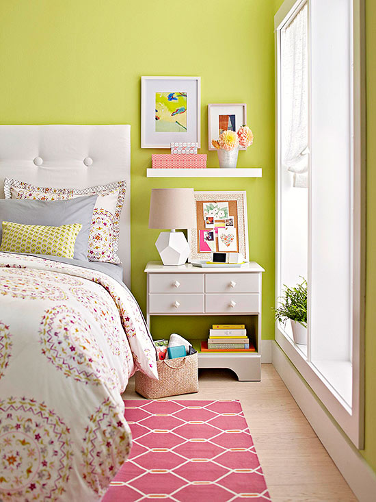 light green small bedroom design