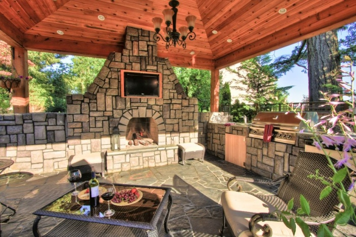 unique outdoor fire place design