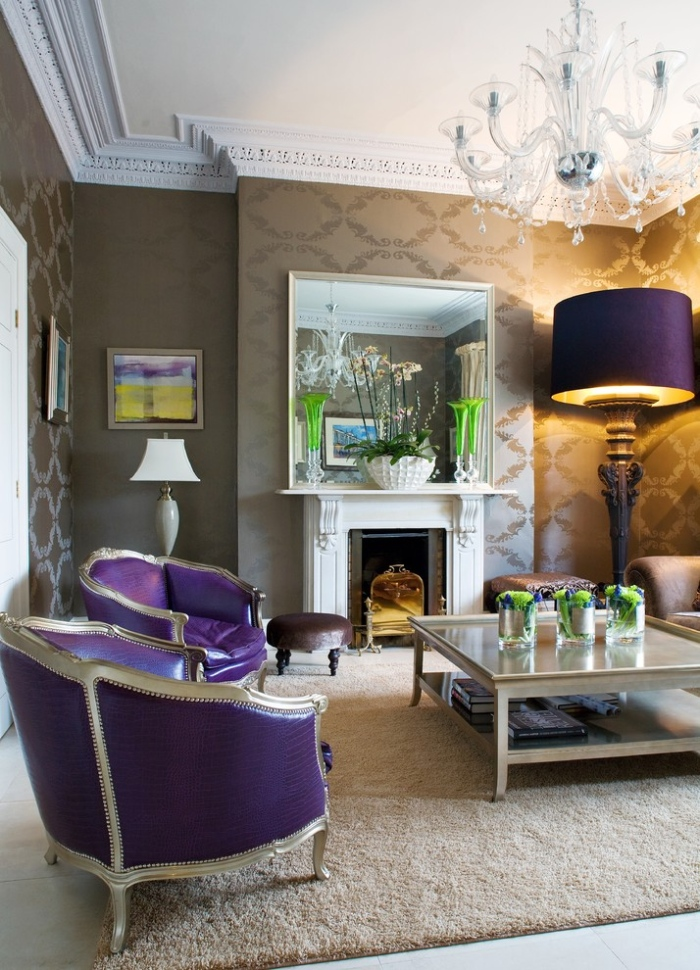 victorian style purple in living room
