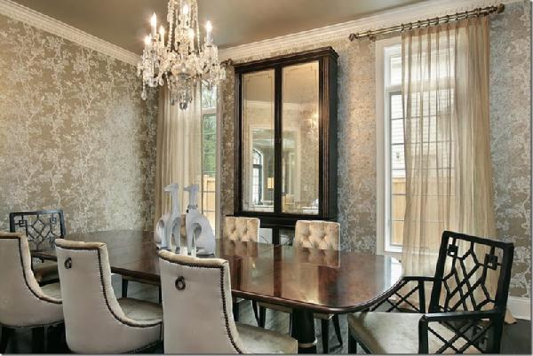10 dining room designs with damask wallpaper patterns for Dining area wall design
