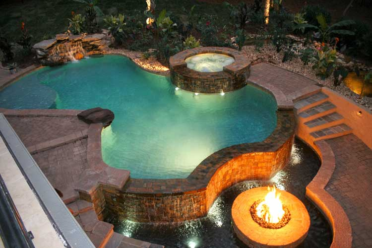 Asymmetrical Design Firepit Pool
