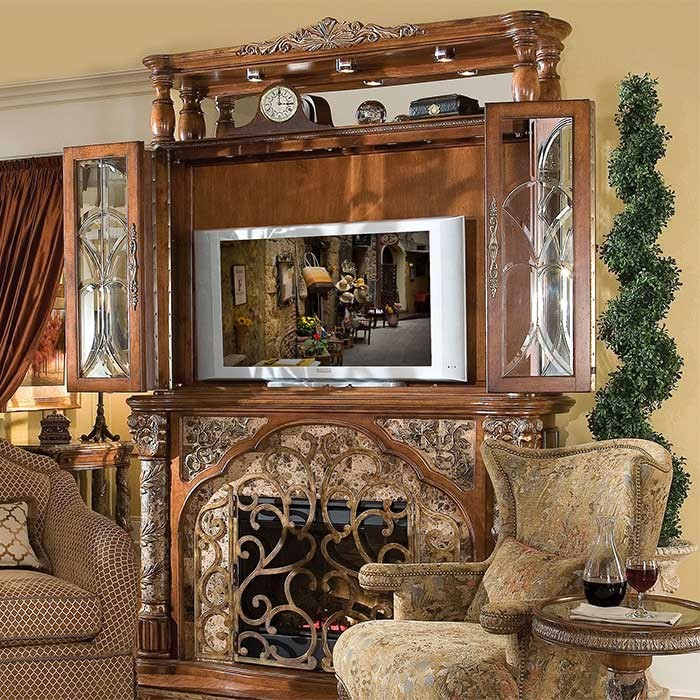 1-Renaissance Victorian Style Fireplace and Bookcase