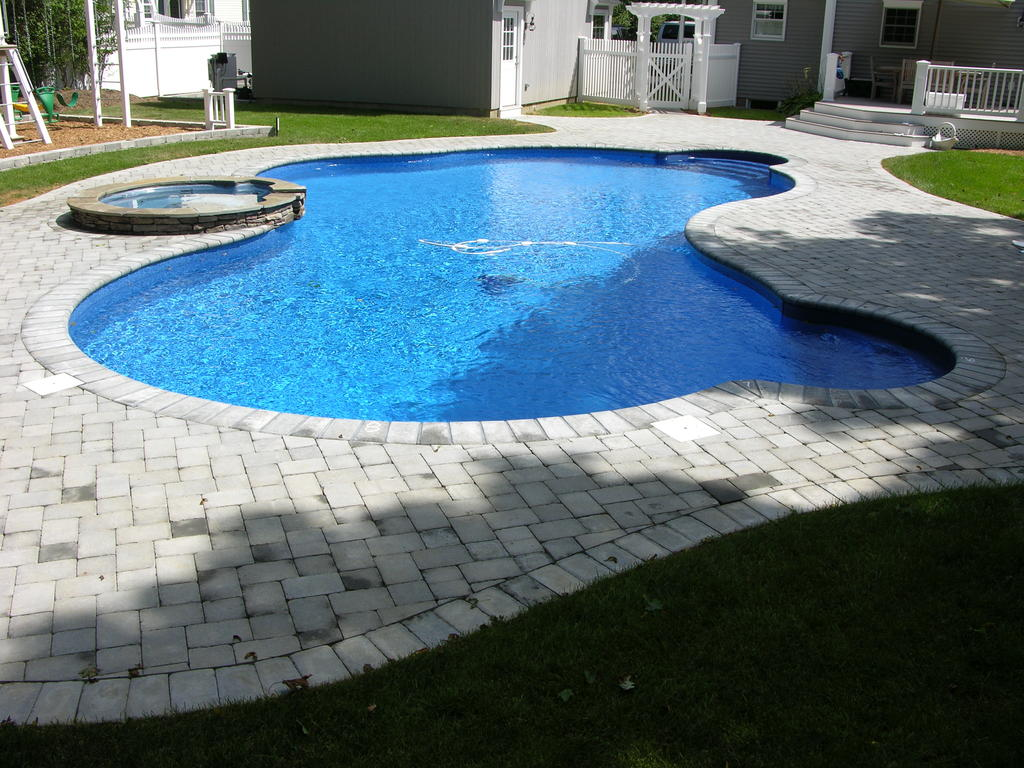 Freeform Pool with Raised Spa