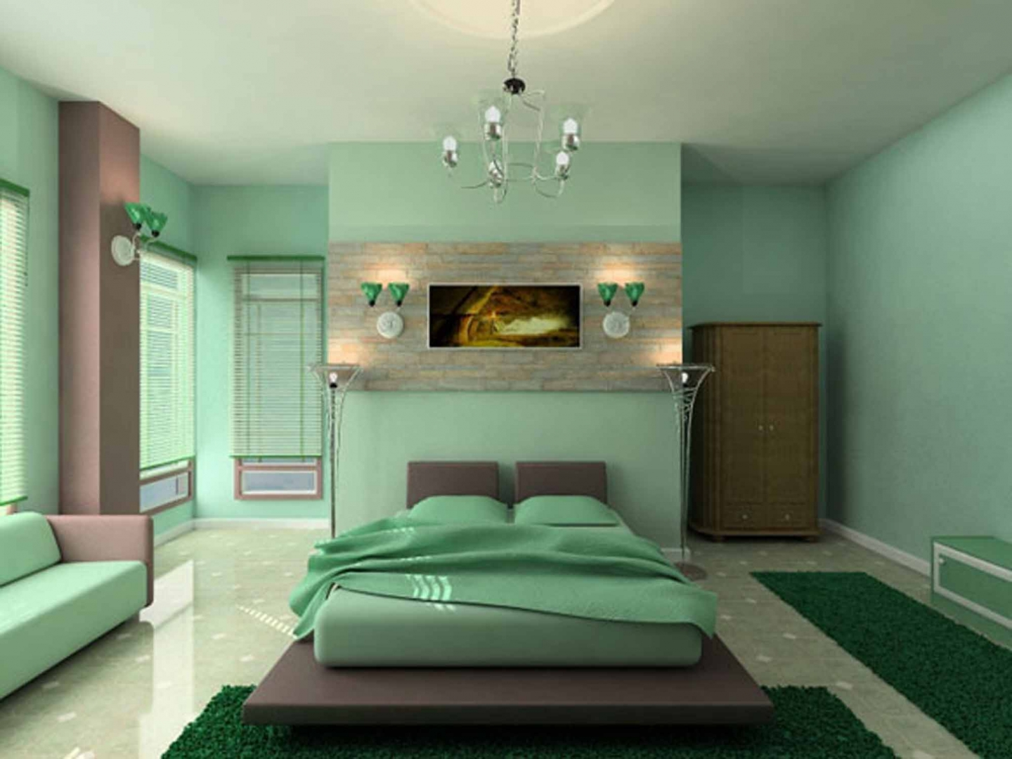 Spacious Green Bedroom