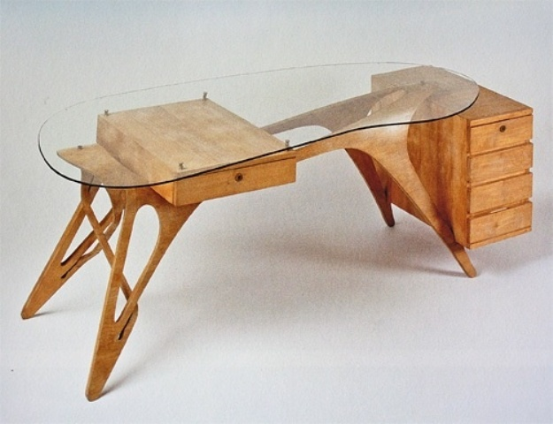 Wooden Glass Plane Desk Design